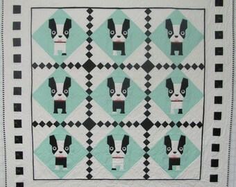Bulldog Baby Quilt Pattern with 3-Dimensional Tongue - PDF Version