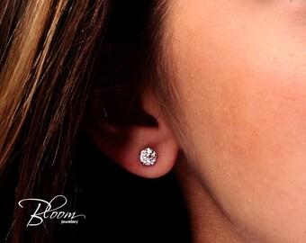 Diamond Stud Earrings 1.00 Carat 18K White Gold Earrings Natural Diamond Earrings White Gold Diamond Earrings Bloom Jewellery