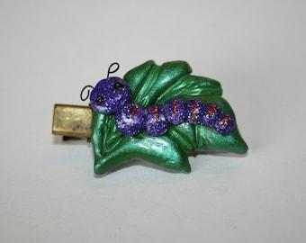 Caterpillar Hair Clip/ Polymer Clay / Flower / Handmade