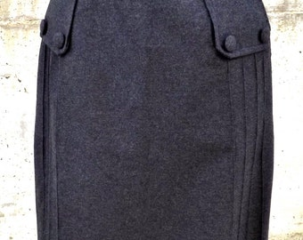 Vintage wool skirt made in Italy size M, 1950s