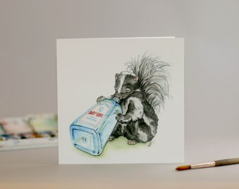 Drunk as a skunk: Hand Drawn Card // gin // bombay // party animals // boozey beasts // watercolour