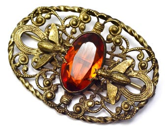 Antique Victorian brass topaz glass cab fly bug insect sash pin brooch