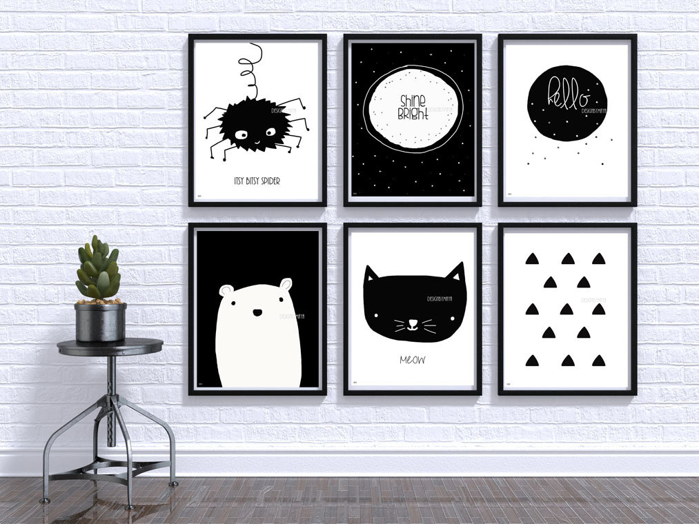Black and white baby print nursery wall art baby room decor for Black and white mural prints