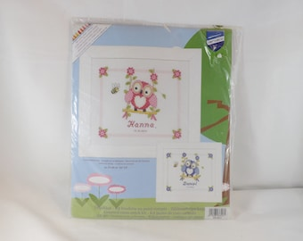 Owlet on a Swing Birth Record Counted Cross Stitch Kit - Vervaco