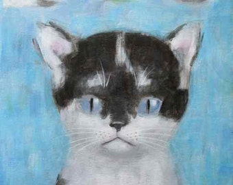 ORIGINAL Cat with Clouds Painting by KAZUMI 8 x 10 inch Canvas