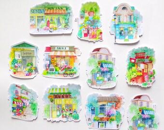 Boutique Shop Sticker Pack,  Bohemian Storefront Sticker Sack, Planner, Sticker Sack, Sticker Set, Sticker Flakes