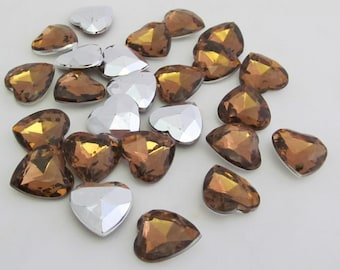 "Brown or Dark Amber Heart Acrylic Gems .62"" 16mm non-sew glue in faceted back - 25 total"
