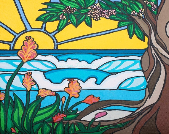 11x14 Large Print Love Tree Surf Art with Waves Sun and Plumeria Tree by Lauren Tannehill Art