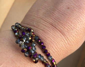 Contemporary Amethyst Bracelet, Handmade Gemstone Bracelet, Amethyst Crystal Beaded Bracelet, Edinburgh Designer, K Brown Jewellery