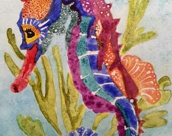 Colorful Impressionist Seahorse