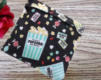 10in X 10in Microwavable Corn Filled Heat Pack, Heating Pad, Ice/Cold Pack, Flannel Buttered Popcorn Print, Corn Bag Sleeve, Heat Pad Cover