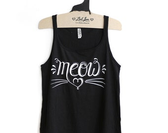 Small -Black Relaxed Jersey Tank with MEOW Screen Print