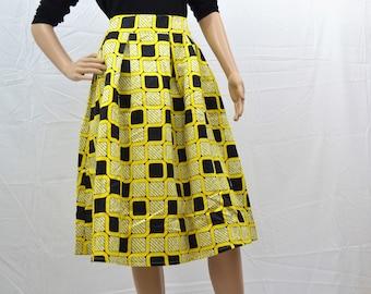 Summer Blocks Midi African Print Pleated Skirt