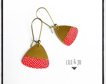 Scandinavian collection: earrings are made of brass and Red Japanese paper with white polka dots