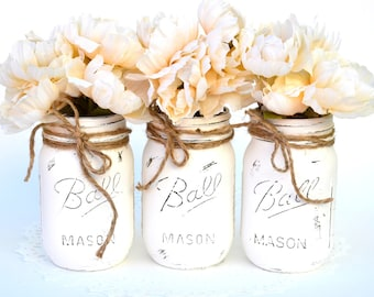 Painted Mason Jars, White Mason Jars, Bulk Mason Jars, Wedding Jars, Jar Centerpieces, Chic Centerpieces, Chic Bottle Decor, Mason Jar Decor