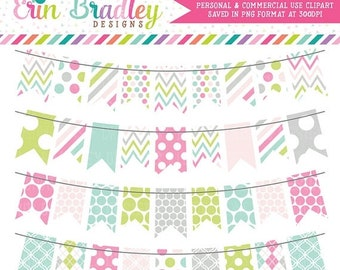 80% OFF SALE Soft Spring Bunting Clipart, Commercial Use Banner Flag Clipart, Instant Download Clip Art