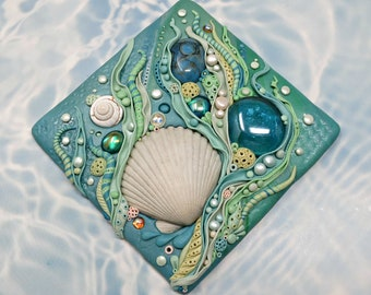Tide Pool Art Tile, Mosaic Found Object Tile, Polymer Clay and Glass with Seashells, Stone and Glass Cabochons
