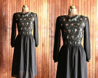 40s style dress - semi sheer black chiffon diamon print - embellished long sleeve dress - knee length - multicolor - extra small xs