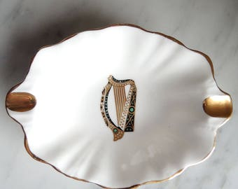 Celtic Harp Small Dishes Gold Trim Royal Tara Bone China