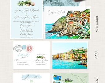 Destination wedding invitation Cinque Terre Italy Riviera Illustrated Wedding Invitation RSVP watercolor map Deposit Payment