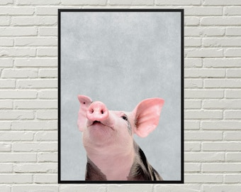PIG print, pig art, kitchen wall art, farm decor, pig wall decor, rural decor, kitchen wall decor, digital pig decor, cute pig picture
