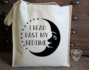 I Read Past My Bedtime Moon Cotton Canvas Market Bag | Tote Bag  | Reading tote | Book Bag | Book Lover Gift | Teacher Gift | Reading Gift