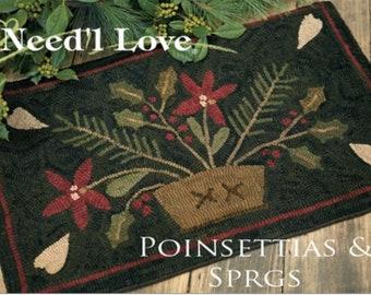 "Pattern: Rug Hooking Pattern ""Pointsettias & Sprigs"" by Maggie Bonanomi for Needle Love Designs"