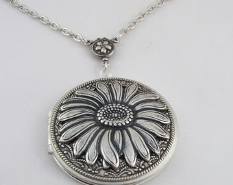 Silver Sunflower Picture Locket.Photo Locket Mother's Day Locket Valentine Gift For Her