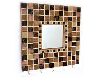 Mosaic Key Rack, Mosaic Mirror, Mosaic Mirror Key Keeper, Mosaic Key Holder, Key Organizer, Key Rack, Tan Brown Black Mosaic Key Rack Mirror