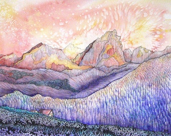 Stylized Colorado mountain scene. Navajo Peak 1- is a fine art GICLEE print of one of my paintings. Free U.S. shipping.