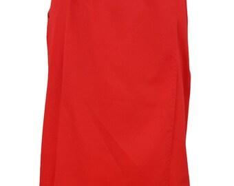 JG HOOK Vintage Red Cotton Knee Length Wrap Skirt (UK 10)