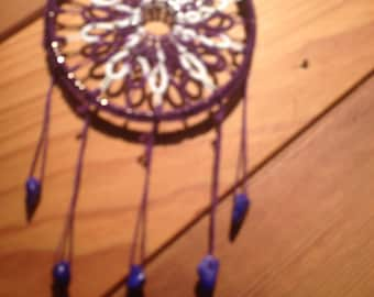 Purple Twist hand tatted dreamcatcher