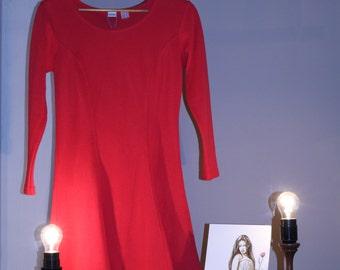 90s dress true Vintage 36 s red Skaterkleid A-line mini dress three viertelarm grunge sporty hipster summer dress plate skirt