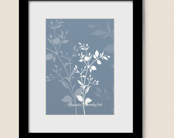 Customized Botanical Plant Print 5 x 7, Nature Wall Art, Blue Decor, Wildflowers, Modern Floral, Silhouette (35)