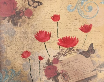 Red Poppies on Patterned Paper - 12 x 12