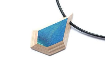 Wood (Skateboard) Necklace and Leather Blue and Beige - Reversible - 16po - Men Women Children Teen Young Boy Girl Skateboarder Longboard