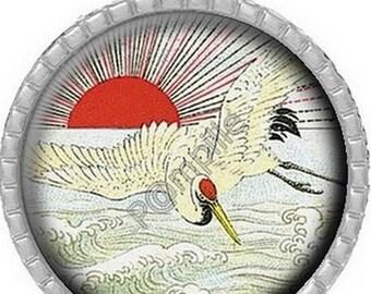 Cabochon pendant - Asian inspiration - (604)