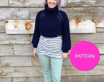PATTERN ONLY ** Cowled Beginner Raglan, Cowl sweater pattern, cropped knit sweater, Cropped raglan knit, raglan sweater, knit raglan sweater