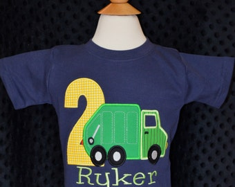 Personalized Birthday Applique Shirt or Bodysuit Girl or Boy Garbage Truck