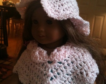 Dolls, Doll Clothes, Doll Poncho, Doll Hats, 16-18 inch dolls, doll fashions, crochet, pink