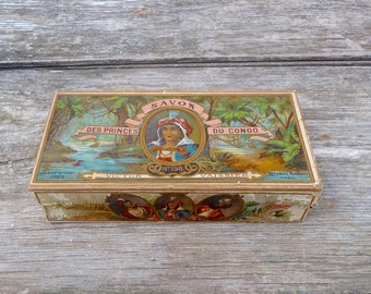 Vintage Antique 1900s French Victorian Savon des Princes du Congo soap box Victor Vaissier /Vanity