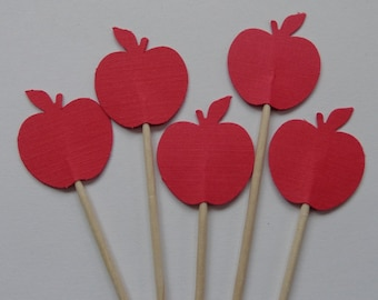 24 Red Apples Cupcake Toppers - Food Picks - Party Picks - Small Red Apples Appetizer Picks - Back To School Decorations - Red Apples