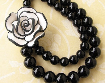 Black Jewelry Statement Necklace Flower Necklace Bib Necklace Black and White Necklace Beaded Necklace