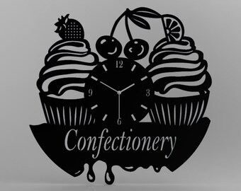 Confectionery Wall Clock Black Decor Modern Decorative Wall Clock This Clock is A Unique Gift to Your Friends and Family for Any Occasion