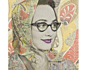 Retro 1950 s print, photomontage, digital print, 50 s fashion, retro kitsch, vintage fashion, Australian 50 s, home decor, digital art