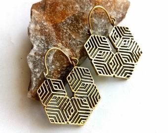 Geometric hoop Earrings, unique design, Tribal Brass Earrings, Brass Earrings, Boho Earrings. Gypsy Earrings. Ethnic Earrings.