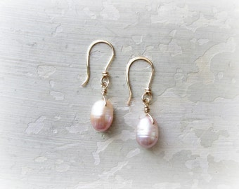 Freshwater Pearl Earrings, Bridesmaids Earrings, Pink Pearl Dangles, Wedding Jewelry, Gold Filled Earrings, Gold Pearl Earrings, Bridal