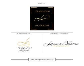 Black Gold Logo Watermark Branding Kit Package - design no. 180 - gold golden black monogram metallic
