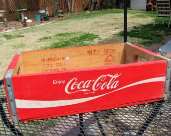 Wood Coke Crate / Red Coke Crate with White Letters