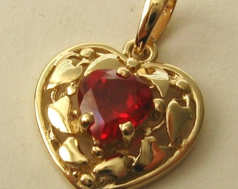 Genuine SOLID 9K 9ct YELLOW GOLD Heart Shape Filigree July Birthstone Ruby Pendant